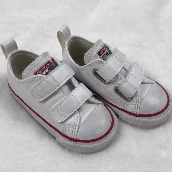 4cbf72d34efa Converse Other - White Leather Velcro Toddler Converse
